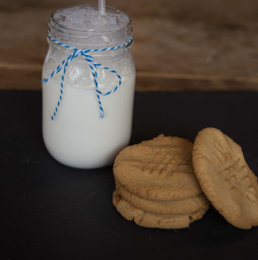 a big glass of milk and some cookies