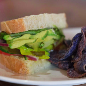 Vegi GF sandwich with Jacksons purple potato chips