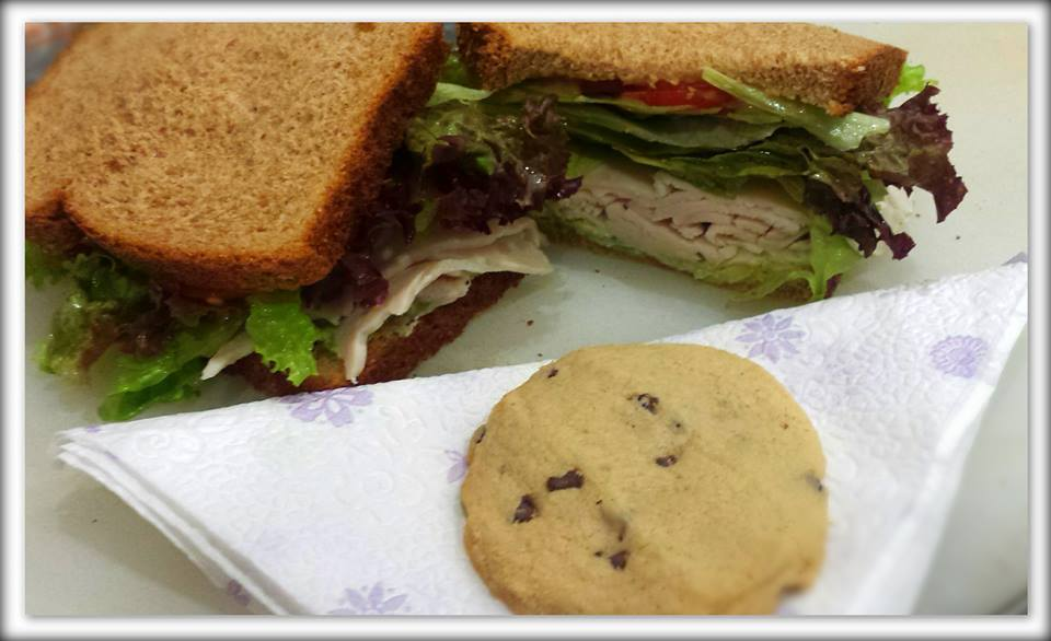 cocolate chip cookie and a sandwich